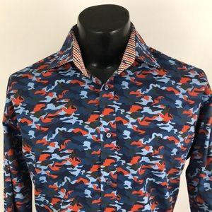 Thomas Dean Button Up Shirt Camouflage Camo Blue L